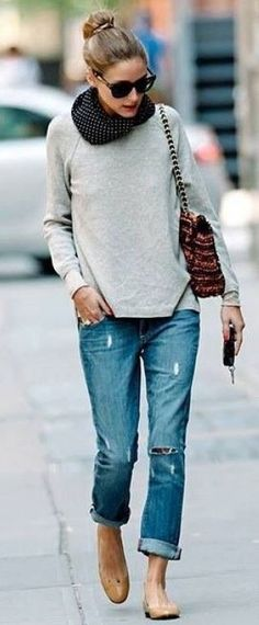 fall fashion trends / scarf + grey sweatshirt + bag + rips