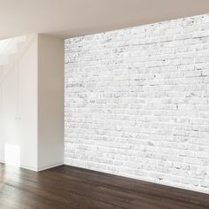 An exposed brick wall in a room doesn't always mean industrial. Moreover if we talk about the specific white brick wall, the style and design it suits will be way more than just one kind. The range is wide as . Brick Accent Walls, Faux Brick Walls, White Brick Walls, 3d Brick Wall Panels, Wall Mural Decals, Removable Wall Murals, Brick Wallpaper Removable, Wall Art, Brick Effect Wallpaper