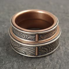 Wedding Band Set in Sterling Silver and 14k Rose Gold - Sunflower Rings: http://www.etsy.com/listing/153112566/wedding-band-set-in-sterling-silver-and?ref=shop_home_active