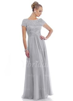 A-Line/Princess Scoop Neck Floor-Length Ruffle Lace Beading Chiffon Zipper Up Sleeves Short Sleeves 2015 Silver Spring Fall Winter General Mother of the Bride Dress Mother Of The Bride Dresses Long, Mothers Dresses, Long Mothers Dress, Mob Dresses, Bridesmaid Dresses, Wedding Dresses, Party Dresses, Robes D'occasion, Evening Dresses