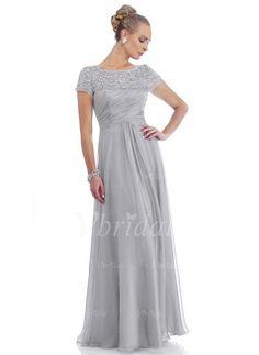 Robes de mère de la mariée - $179.97 - Forme Princesse encolure dégagée Longueur ras du sol Mousseline en 30D Robe de mère de la mariée avec Plissé dentelle Perles brodées (0085059436)