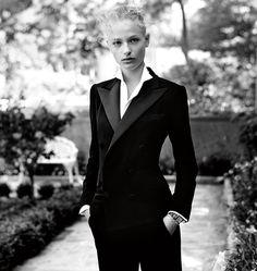 The Tuxedo, worn by Frederikke Sofie. Photographed by Steven Meisel. #RLiconicStyle