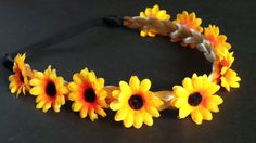 Daisy headband Plaited Synthetic Blonde hair Daisy Hair Garland Adult size by CowlingCountryCrafts on Etsy
