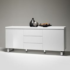 Sydney Large Sideboard In High Gloss White 3 Drawer 2 Door