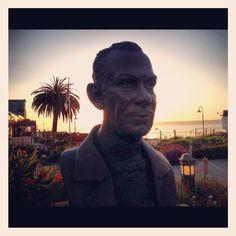 Bust of John Steinbeck at sunrise, Cannery Row / Monterey CA Cannery Row Monterey, Monterey Peninsula, Monterey California, Documentaries, Sunrise, Nostalgia, Road Trip, Destinations, Tours