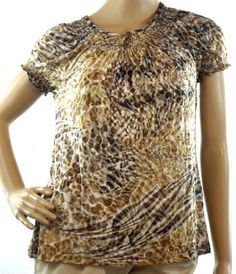 Kim Rogers Brown Animal Print Top Blouse Short Sleeve Light Weight Size Small #KimRogers #KnitTop #Casual
