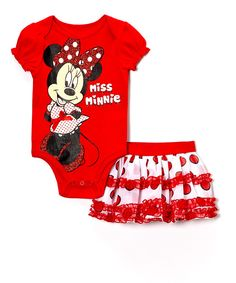 This Red Minnie Mouse Bodysuit & Skirt - Infant by Bentex is perfect! #zulilyfinds