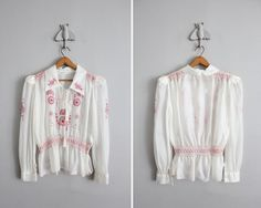 Vintage 1930's/40's Red Embroidered peasant blouse. (allencompanyinc, Etsy)
