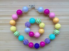 On Sale Chunky Necklace Multi Colors Necklace Bracelet Set Bubblegum Bead Set Childrens Costume Jewelry Smash Cake - pinned by pin4etsy.com