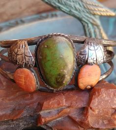 ~Fred Harvey Era Turquoise Spiny Oyster Sterling Stamped Cuff Bracelet~ #Cuff #SterlingSilverCuff Sterling Silver Cuff, Gold Pendant, Turquoise Bracelet, Coral, Stamp, Bracelets, Rings, Native American, Addiction