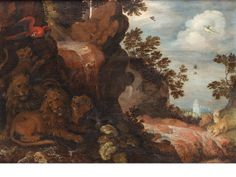 Roelandt Savery, Lions resting in a wooded glade with a parrot, animal bones and a waterfall nearby, two leopards on the bank beyond
