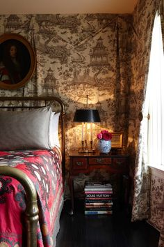 toile wall lining + suzani bed + super cozy bohemian bedroom