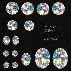 """planche digitale pour cabochon """"motif floral """" - 12 formats - 46 images à imprimer : Images digitales pour bijoux par patouille-et-gribouille"""