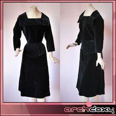 Vintage 1940s Sumptuous Black Velvet Sailor Collar Agent Carter Wiggle Dress   http://www.ebay.co.uk/itm/Vintage-1940s-Sumptuous-Black-Velvet-Sailor-Collar-Agent-Carter-Wiggle-Dress-14-/371591440179?ssPageName=STRK:MESE:IT