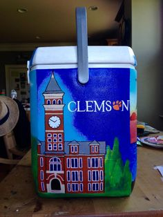 Painted Clemson cooler. Great for a big or a little!