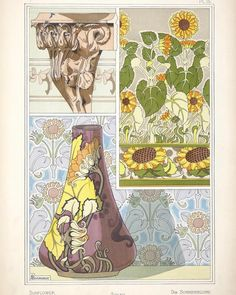 Sunflowers Eugène Grasset 1896  Many graphic artists in the Art Nouveau era were inspired by botanical illustrations and they transposed organic forms into decorative designs often collected in design sourcebooks. Some of the finest of these books were produced by the Swiss-born artist Eugène Grasset (1845-1917) and his pupil Maurice Pillard Verneuil (1869-1942). Interestingly Grasset developed a strong interest in Japanese art.  Grassets 1896 book La Plante et ses applications ornementales…