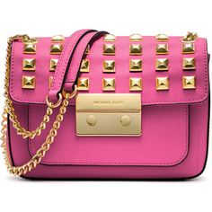 MICHAEL Michael Kors Small Sloan Studded Shoulder Bag ($298) ❤ liked on Polyvore