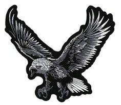 Large Eagle Hawk American Bald Biker Rider Jacket T shirt Patch Sew Iron on Embroidered Applique Badge Custom Marine Flag, Riders Jacket, Motorcycle Jacket, Biker, Silver Eagles, Cat Costumes, Tattoo Sketches, Bald Eagle, Badge