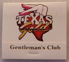 Texas Gold Gentleman's Club, NYC.  Circa 1989 BKQ30 -30 stem #matchbook - - To Order Your Business' own branded #Matchbooks and #Matchboxes call 800.605.7331 or GoTo: www.GetMatches.com. Today!