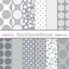 Gray Dot Digital Paper Scrapbook - white & grey polka dot papers, large, small, neutral soft card ma