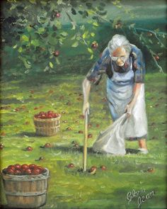 Granny picking up the Apples