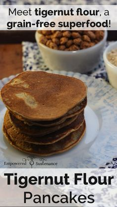 These paleo pancakes feature coconut flour and tigernut flour, an ancient superfood tuber. They are packed with nutrition and absolutely delicious!