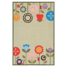 Rug with floral motif.   Product: RugConstruction Material: AcrylicColor: GrassNote: ...