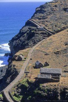 West Africa, Cape Verde (Cabo Verde), Santo Antão island, seafront path near Ponta do Sol.