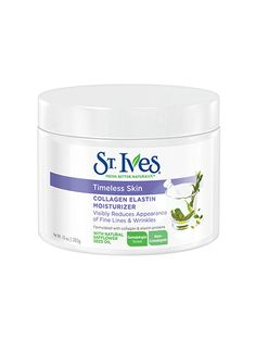 St. Ives Timeless Skin Collagen Elastin Facial Moisturizer Collagen adds extra oomph to this drugstore moisturizer, and safflower-seed oil provides vital hydration.