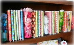 Organizing fabric using foam core board.  I love this idea and going to do this for all my fabric in my sewing room.