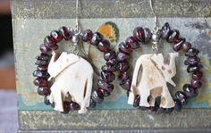 Carved Bone Elephant Earrings, Garnet Beaded Earrings, Vintage Assemblage Jewelry, Statement Earrings, Boho Earrings, Garnet, Bone, OOAK