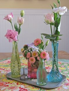 Junk bottles...a couple of tall and narrow vases. Likely got from Goodwill, garage sale, or resale store.
