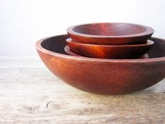 Vintage Wooden Bowl Set - Maple Oval Bowls - Baribocraft - Dark Stain - Large Bowl and 4 Smaller - Made in Canada - 1970's