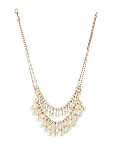 Golden Double-Strand Pearly Bib Necklace