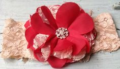 Vintage Red Satin & Ivory Lace Bridal Fabric Flower Headband, Flower Girl Hair Accessory, Bridal Hair Piece, Red Flower Hair Clip, Weddings on Etsy, $26.00