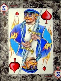 """The King of Spades"" a more modern take on the playing card design. Part of an ongoing series. It measures 15""x 21"" and is done in oil and enamel spray paint. An old biker was the model for this!$250.00"