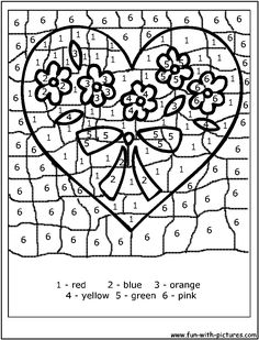 color by numbers valentine heart - Free Printable Coloring
