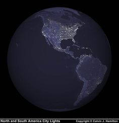 This image of North and South America city lights was created with data from the Defense Meteorological Satellite Program (DMSP) Operational Linescan System (OLS). Originally designed to view clouds by moonlight, the OLS is also used to map the locations of permanent lights on the Earth's surface.