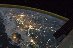 Security floodlights trace the India/Pakistan border in this photo from the ISS
