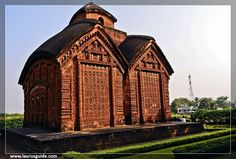 Bishnupur Jor-Bangla temple, built 1655 by King Raghunath Singha Dev. It is richly ornamented with terracotta carvings. The roof has the classic chala style of Bengal architecture.  Jor-bangla, also called yorubangala, is a style of temple architecture that arose in Bengal. The style involves two structures that resemble the traditional village huts of the region, one that serves as a porch, in front of the other that serves as a shrine.