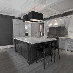 Gray floors with gray walls and white baseboards and white ceilings.  I'm not afraid of the dark.
