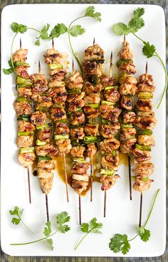 Yakitori Chicken. Skewered tender chicken and scallions, glazed and grilled with a delicious Japanese sauce. Perfect with a cold beer!