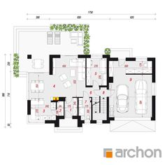 Dom w śliwach 2 Family House Plans, Modern House Plans, Compact House, Home Design Plans, Facade House, Modern Architecture, Building A House, Floor Plans, How To Plan