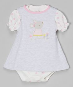 Look at this #zulilyfind! René Rofé Baby Gray & Pink Polka Dot Mouse Skirted Bodysuit - Infant by René Rofé Baby #zulilyfinds