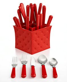 QSquared Provence Red 20-Piece Flatware Set with Caddy