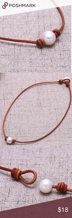 Pearl Necklace Choker Handmade Cultured Freshwater pearl leather choker necklace on genuine leather cord • total length is approx 16 inches • 2.0 mm cord • 11-12 mm pearls Jewelry Necklaces