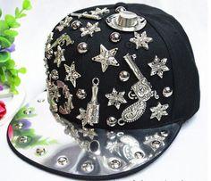 black/silver/gold hiphop snapback pistol/owl/skull design charm casual snapback DJ singer bling baseball cap by littledandeliondream on Etsy