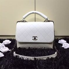Chanel Flap Bag With Handle Calfskin Ivory In Price