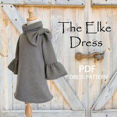 Girls Dress, PDF sewing pattern, Childrens Kids clothing pattern, Stretch Pattern, The Elke Dress.