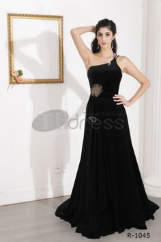 Black A-line dress black one shoulder dress, black strapless dress